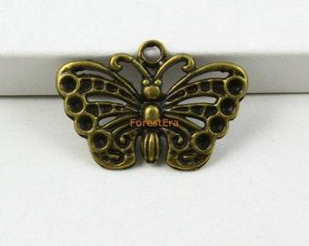 30Pcs Antique Brass Butterfly Charms Pendants 25x15mm (PND555)