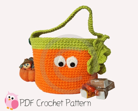 Halloween Pumpkin Basket Crochet Pattern Digital Download