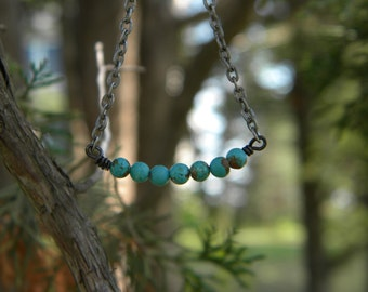 Turquoise ....necklace dainty simple statement santa fe southwestern cowgirl American Indian everyday
