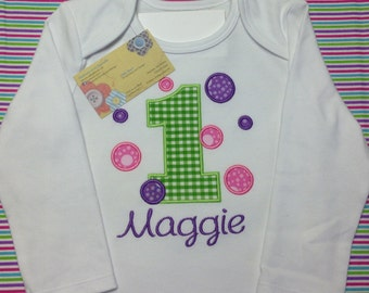 Birthday Shirt with Number and Bubbles - Appliqued and Personalized
