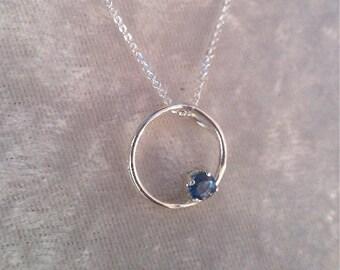 Genuine Sapphire (September Birthstone) circle necklace