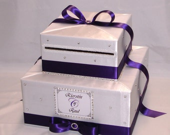 Elegant Custom made White-Eggplant purple Wedding Card Box-rhinestones-any colors