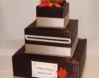 Elegant Custom made Wedding Card Box-FALL theme