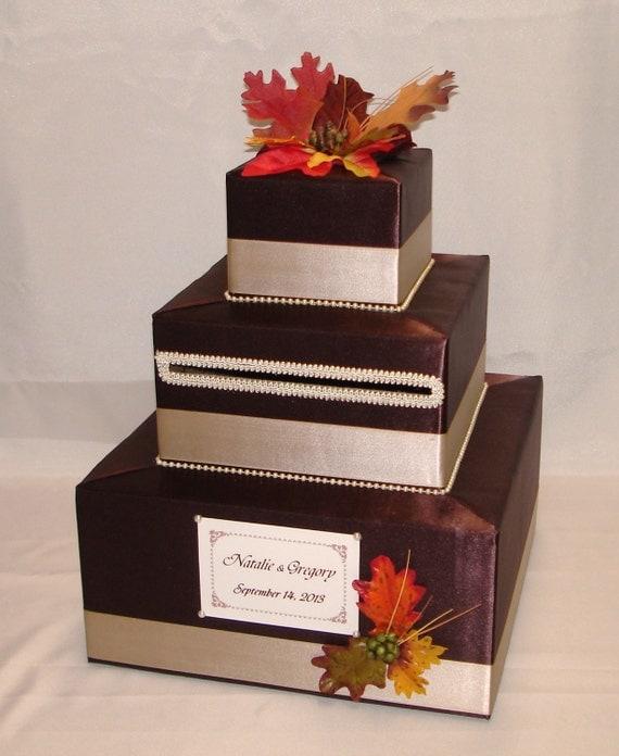 Fall Wedding Card Holder Ideas: Elegant Custom Made Wedding Card Box-FALL Theme