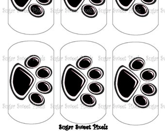 INSTANT DOWNLOAD Black  Paw Print Digital Dog Tag Images 4x6 sheet