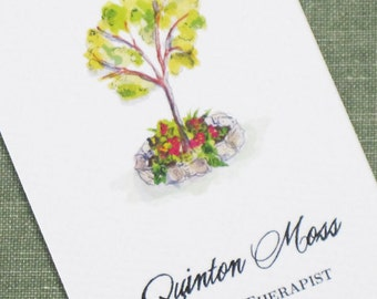 Personalized business card with Watercolor Tree - Set of 50