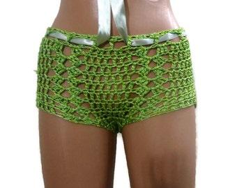 Handmade Crochet Shorts ,Green Crochet Beach Shorts in  Yarn,Crochet Stretch Summer Shorts.