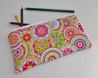 Kaleidoscope print Pencil Case/ Crayon Case/Makeup Bag/ Cosmetic Case/ Ready to Ship