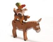 Wood toy Bremen Town Musicians 3D Jigsaw / stackable wood farm animals