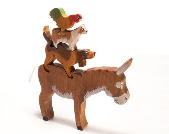 Wood toy Bremen Town Musicians 3D Jigsaw / stackable wood farm animals