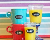 Personalized Drink Labels with Names - Removable and Reusable - Glass Cling Labels