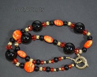 Black Onyx And Bright Orange Autumn Colors Necklace