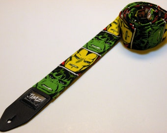 Comic book style handmade double padded guitar strap - This is NOT a licensed product