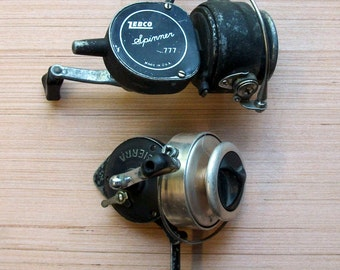 Vintage Fishing reels, antique spinning reels, SIERRA, zebco Spinner 777, fishing reels, collectable fishing equipment, fishing collectables