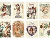 Retro Stamp Sticker Set - ver. 2 - 07 Angel - 2 Sheets - 16 Pcs