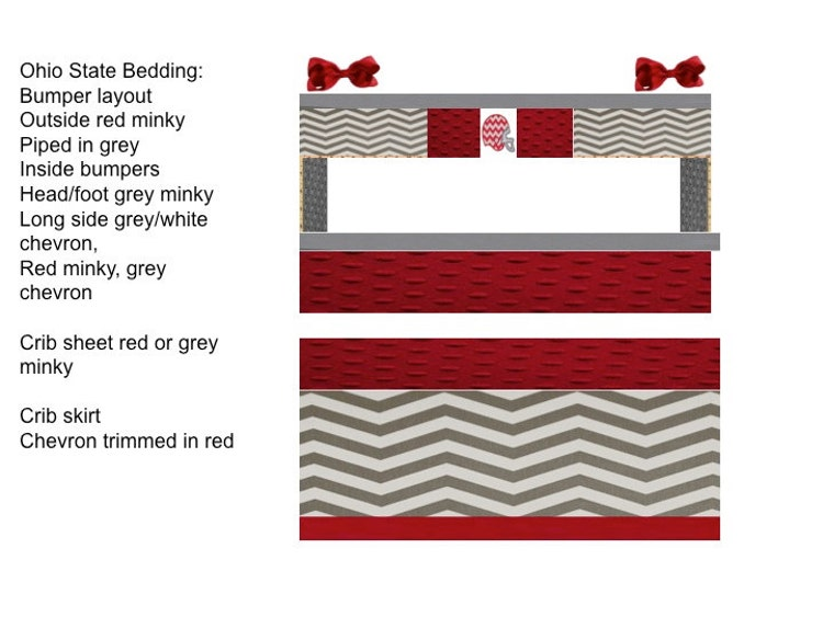 Ohio State Custom Baby Bedding 6 Pc Set With By Babiesnbaubles