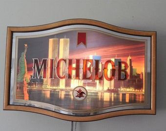 Michelob Beer Twin Towers Lighted Sign W Statue Of Liberty - 1987