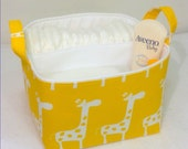 "LG Diaper Caddy 10""x10""x7"" Fabric Bin, Fabric Storage Organizer, Basket, White Giraffe on Yellow With White Lining"