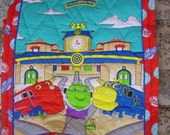 Homemade Baby Child Quilt with Trains Chuggington