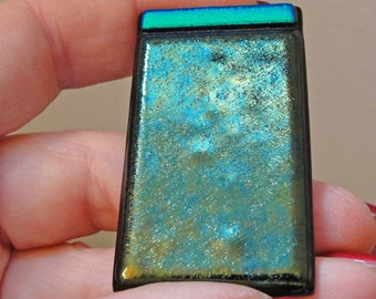 Large Iridescent Green Fused Glass Money Clip Dichroic Glass Mens Green Brown Teal Mens Accessories Jewelry Gifts for Him Under 30 Dollars