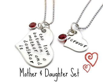 Mother and Daughter necklace SET with BIRTHSTONE Charms, swarovski birthstone charms, mother and daughter jewelry