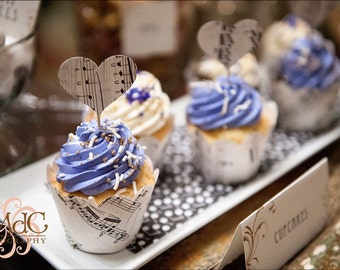 Cupcake Wraps, Music Theme, Music Wedding, Vintage Cupcakes, Lavender Wedding, Lavender and Cream, Cupcakes, Music Recital