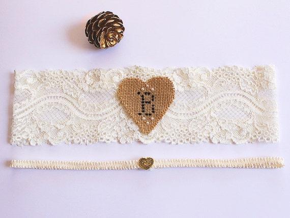 Rustic Personalized Monogram Wedding Lace Garter Set, Barn Wedding Fall, Ivory Bride Garter, Bridal Shower Gift, Burlap Garter, Heart Garter