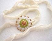 Silk Wrap Bracelet, Bloom Charm, Multi color, Spring Colors, Beadwork