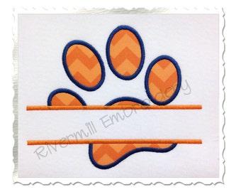 Split Paw Print Applique Machine Embroidery Design - 4 Sizes