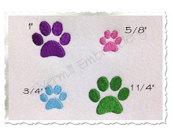 Mini Paw Print Machine Embroidery Design - 4 Sizes