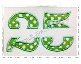 Split Applique Numbers Machine Embroidery Design - 5 Sizes (No Bar In the Center)