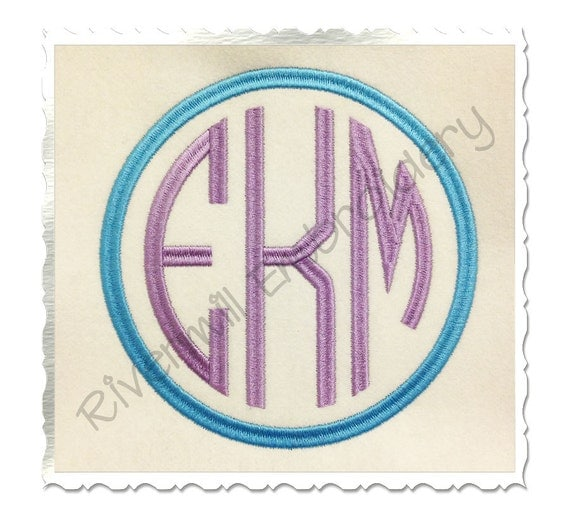 Large Thin Circle 3 Letter Monogram Machine By