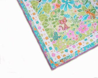 Modern Baby Quilt - Girl quilt - toddler blanket - playmat - baby bedding, nursery, pink, orange, blue, green