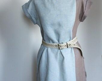 Linen tunic - dress blue light brown