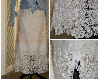 the GiGi / Cowgirl / Country Western / Coachella // Mori Mori // Wedding / Skirt in Layers of Lace used/new/vintage / Made to order