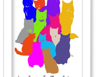 Cat Art Print, Colorful Cats, Nursery Wall Decor