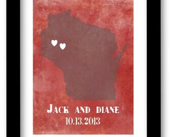 Custom State art print, Family history, custom name, wedding gift, bridal shower gift, housewarming gift, grunge, distressed