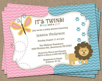 Boy/Girl Twin Lion and butterfly, Baby shower Invitation, pink and blue Digital, Printable file