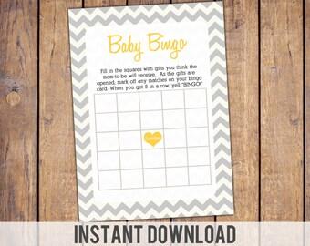 Instant download Bingo Baby Shower Game, grey and yellow, gender neutral, baby shower games, baby bingo card