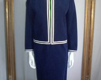Vintage 1970's Navy Blue Ultrasuede Suit - Size 6