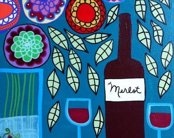 Kerri Ambrosino Mexican Folk Art PRINT Red Wine Merlot Cheese Flowers Wine glasses