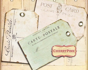 POSTCARD TAGS, vintage style tags, printable craft supply, gift tags, scrapbook tags, digital tags, digital supplies, instant download