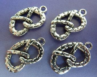 6 pendants, pretzel, Oktoberfest, bavarian, antique silver