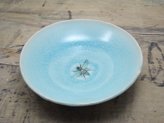 One Porcelain Blue Bee Small Plate