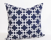 GEOMETRIC Decorative Pillow Cover  Modern Gotcha Throw Pillow NAVY BLUE and White