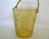 Fostoria Minuet ice bucket etched yellow glass with detachable handle vintage glass