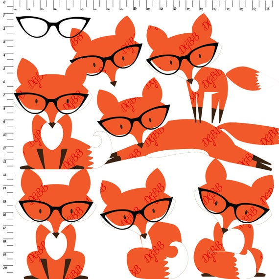 Fox Clipart - Foxes in Glasses Clipart - cute fox clip art ...