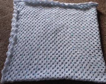 Granny Square Baby Afghan Soft Blanket  Of BlueLarge Enough For Crib Or Play Pen