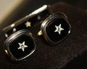 Black & Silver Star Cufflinks, Tie Clip Set