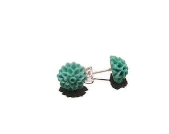 Seafoam / Mint green 10mm resin Dahlia Stud earrings stainless steel